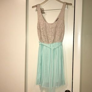 Lace and Pleated Dress with Lace Tie- Never Worn!